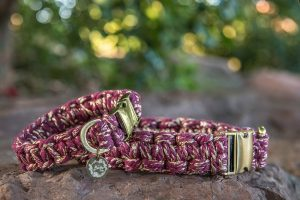 Mulberry macrame dog Collar